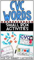 CVC Words: Small Box Activities is an easy to prep, purposeful activity, that is perfect for little hands. It can be used for morning work, a literacy center, early finisher work, etc. Any type of manipulative can be used for this activity, including but not limited to counters, coins, or erasers.