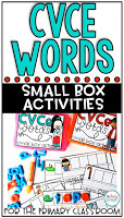 CVCe Words: Small Box Activities is an easy to prep, purposeful activity, that is perfect for little hands. It can be used for morning work, a literacy center, early finisher work, etc. Any type of manipulative can be used for this activity, including but not limited to counters, coins, or erasers.