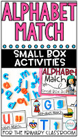 This freebie alphabet match center is an easy to prep, purposeful activity, that is perfect for little hands. It can be used for morning work, a literacy center, early finisher work, etc. Any type of manipulative can be used for this activity, including but not limited to counters, coins, or erasers.