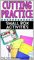 Cutting practice that is fun to do! Small Box Activities are easy to prep activities that are purposeful, and are perfect for little hands. It can be used for morning work, a center, early finisher work, etc.