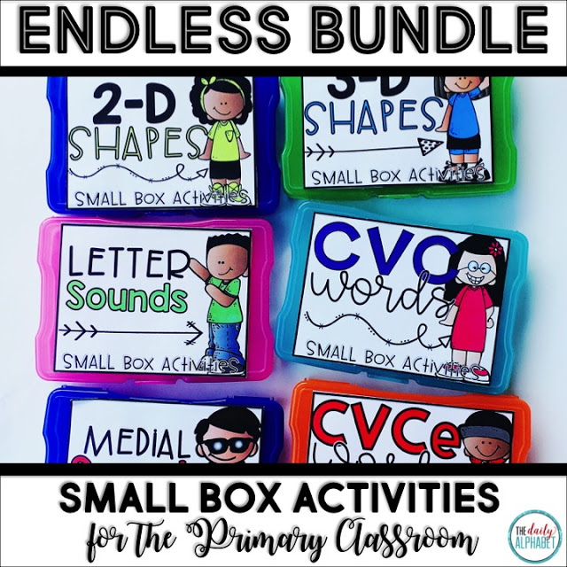 Small Box Activities are easy to prep activities that are purposeful, and are perfect for little hands. It can be used for morning work, a literacy or math center, early finisher work, etc. Any type of manipulative can be used for this activity, including but not limited to counters, coins, or erasers.