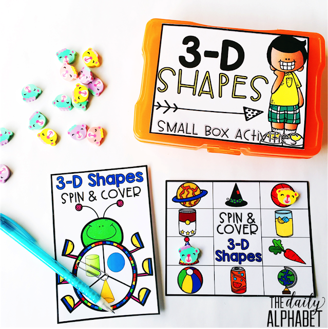 3-D Shapes: Small Box Activities is an easy to prep, purposeful activity, that is perfect for little hands. It can be used for morning work, a literacy center, early finisher work, etc. Any type of manipulative can be used for this activity, including but not limited to counters, coins, or erasers.
