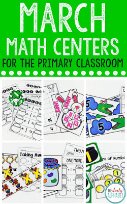 These kindergarten math centers for March are great for students to practice their skills independently! It includes greater than/less than, addition, subtraction and more!
