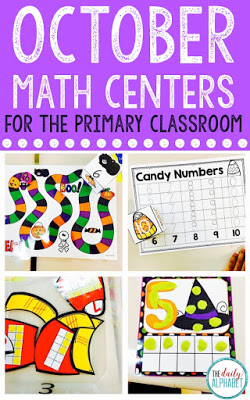 October math centers focuses on a lot of counting, 1:1 correspondence, number recognition and subtilizing, to help develop those early numeracy skills, in addition to counting and cardinality.