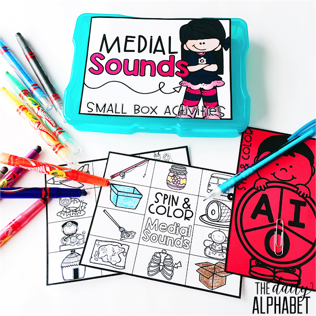 Medial Sounds: Small Box Activities is an easy to prep, purposeful activity, that is perfect for little hands. It can be used for morning work, a literacy center, early finisher work, etc. Any type of manipulative can be used for this activity, including but not limited to counters, coins, or erasers.