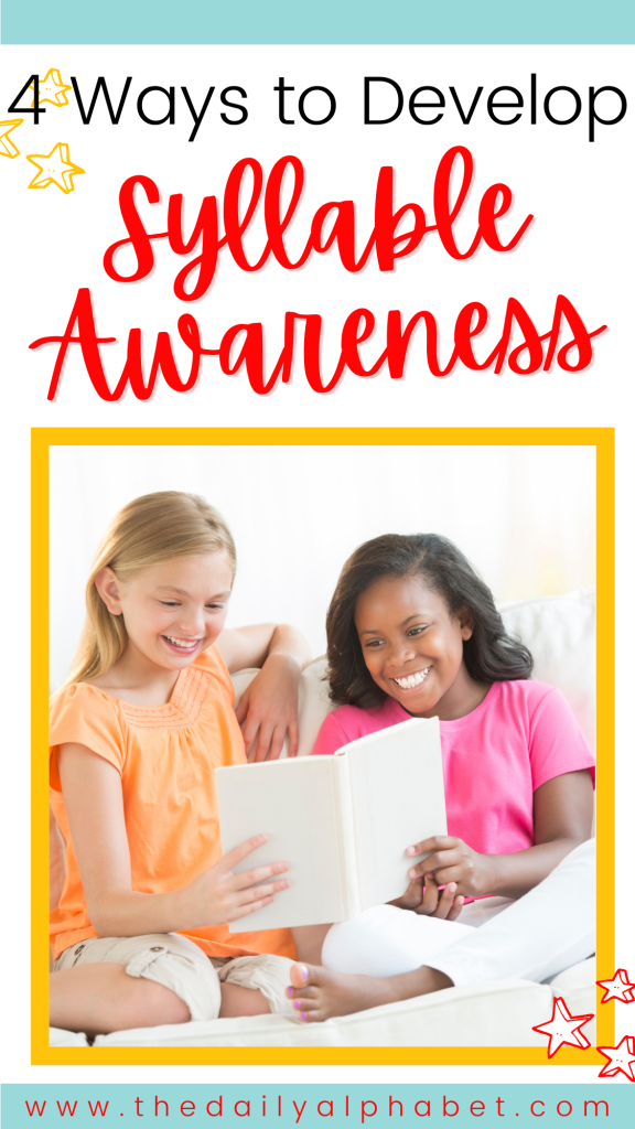 Once students have a sense of word awareness, they begin to develop syllable awareness, even though they may not know what a syllable is. By the end of kindergarten, most students should be able to differentiate syllables in a three-syllable word with modeling and practice. Let's take a look at some easy ways to improve syllable awareness in little learners!